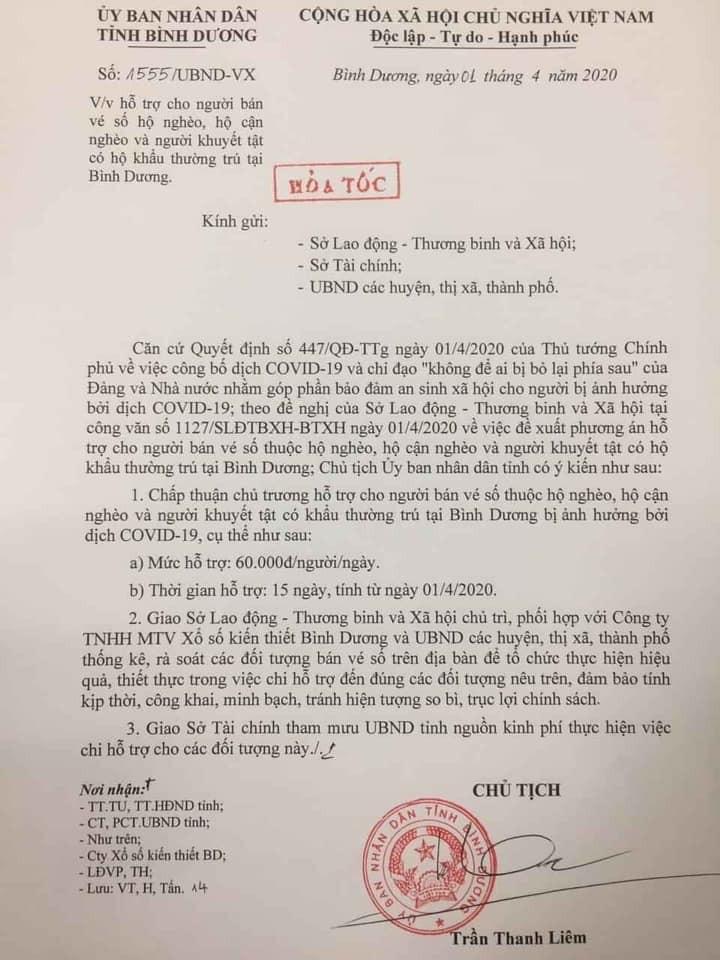 Binh Duong Ho Tro Nguoi Ban Ve So Ngheo